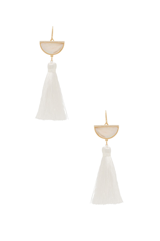 Melanie Auld Half Moon Tassel Earrings in Oyster Shell Gold & Champagne