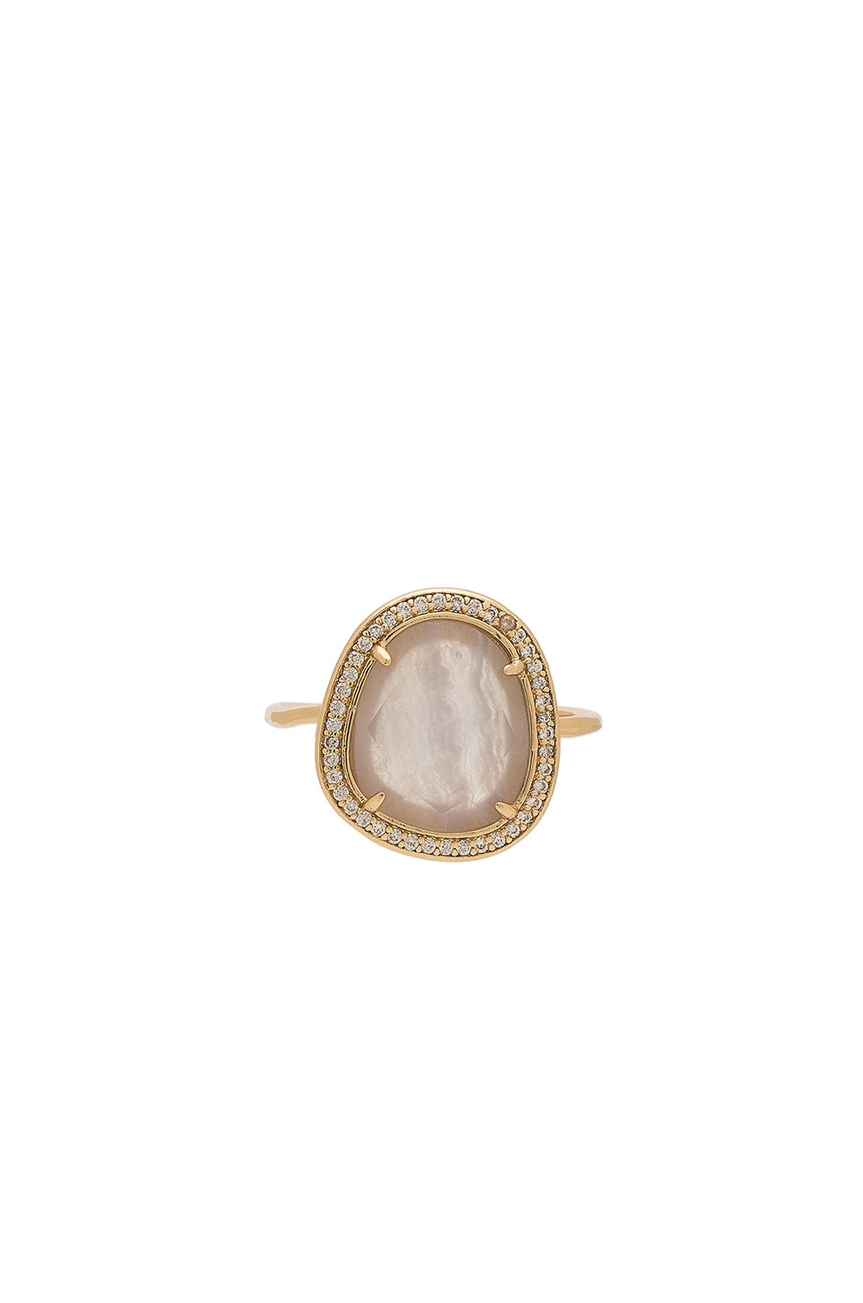 Melanie Auld Stone Slice Ring in Blue Lace Agate & Gold
