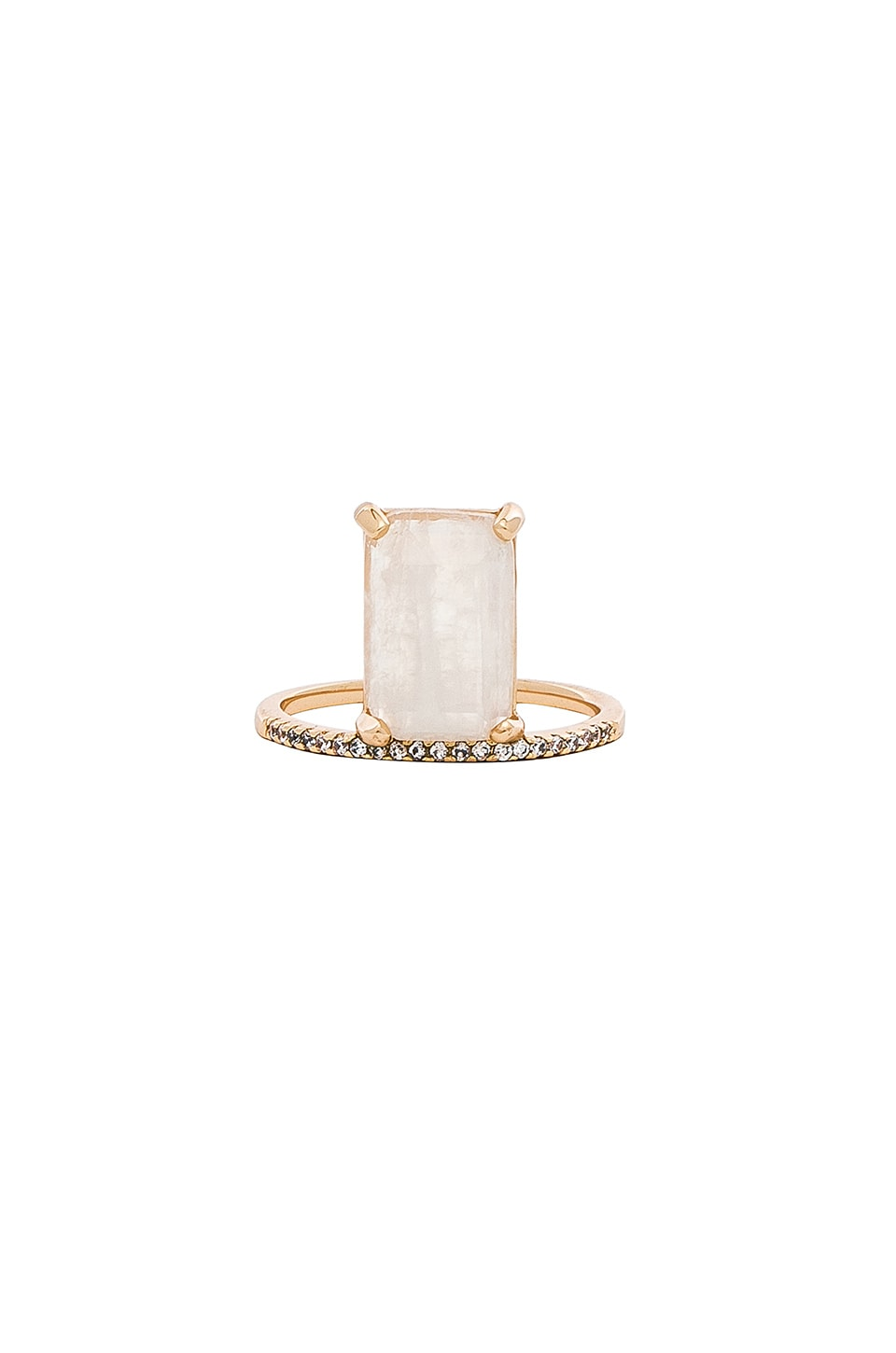 MELANIE AULD Emerald Cut Stacking Ring in Metallic Gold