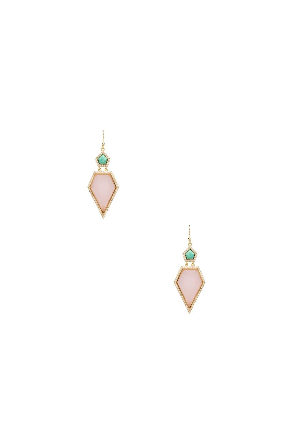 Melanie Auld Pave Double Pentagon Earrings in Turquoise & Pink Opal