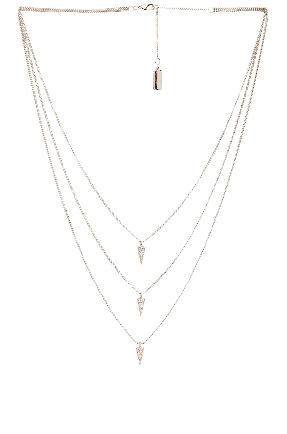 Melanie Auld Triple Pave Triangle Necklace in Silver