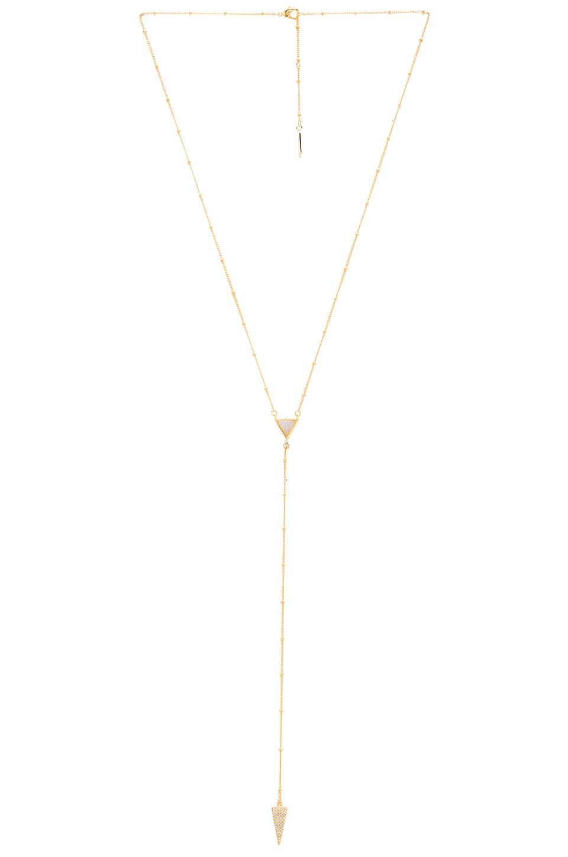 Melanie Auld Pave Lariat Necklace in Cream Druzy
