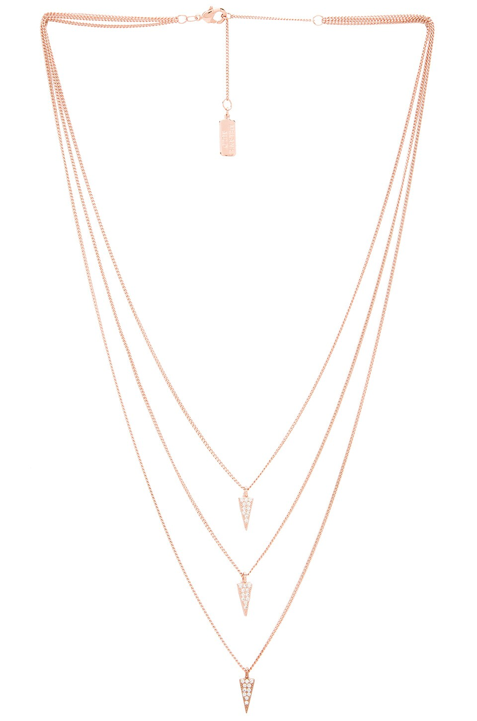 Melanie Auld Triple Pave Triangle Necklace in Rose Gold