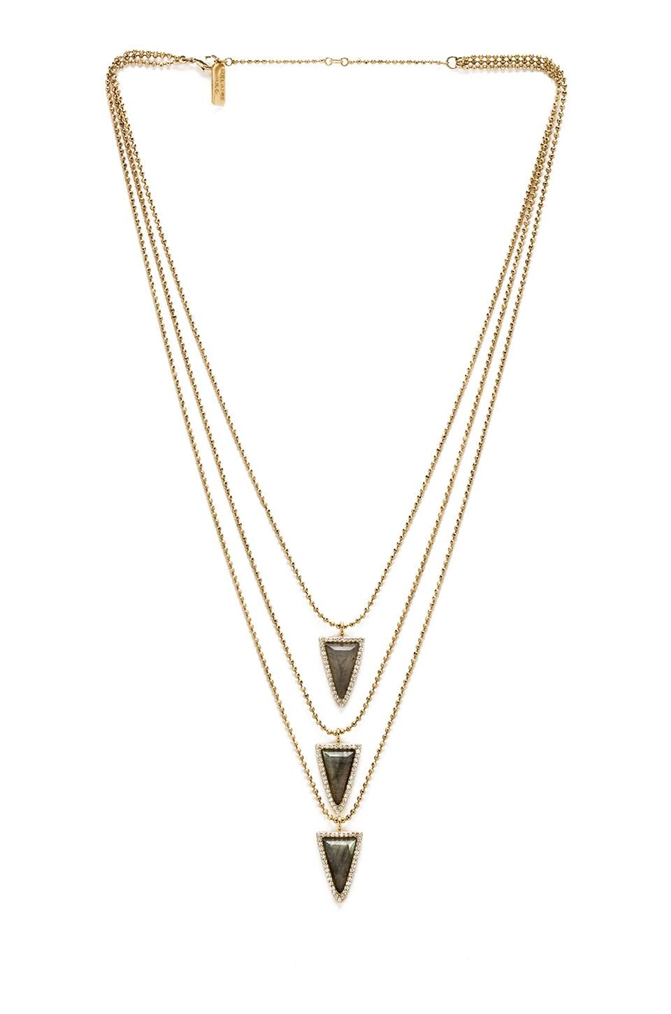 Melanie Auld 3 Tier Pave Triangle Necklace in Labradorite
