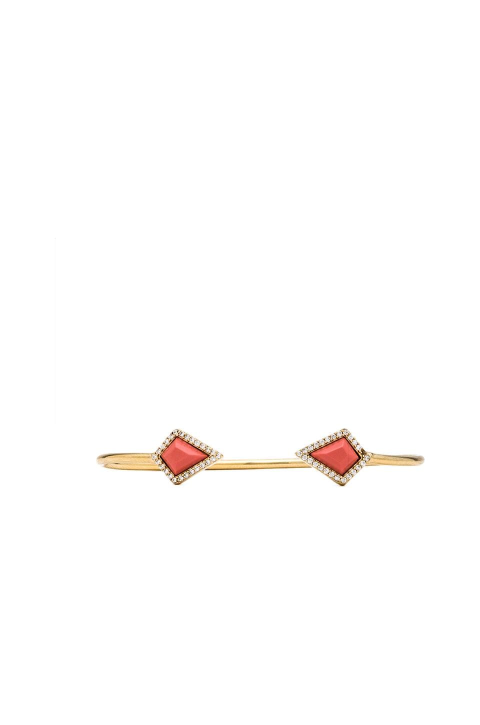 Melanie Auld Pave Stone Diamond Cuff in Coral