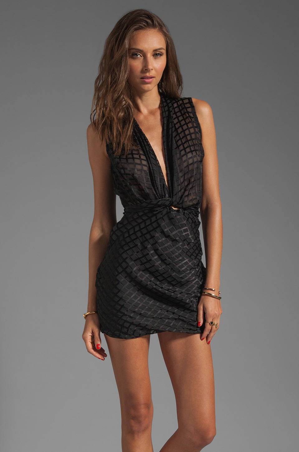 Maurie & Eve Onyx Wrap Mini Dress in Black Check