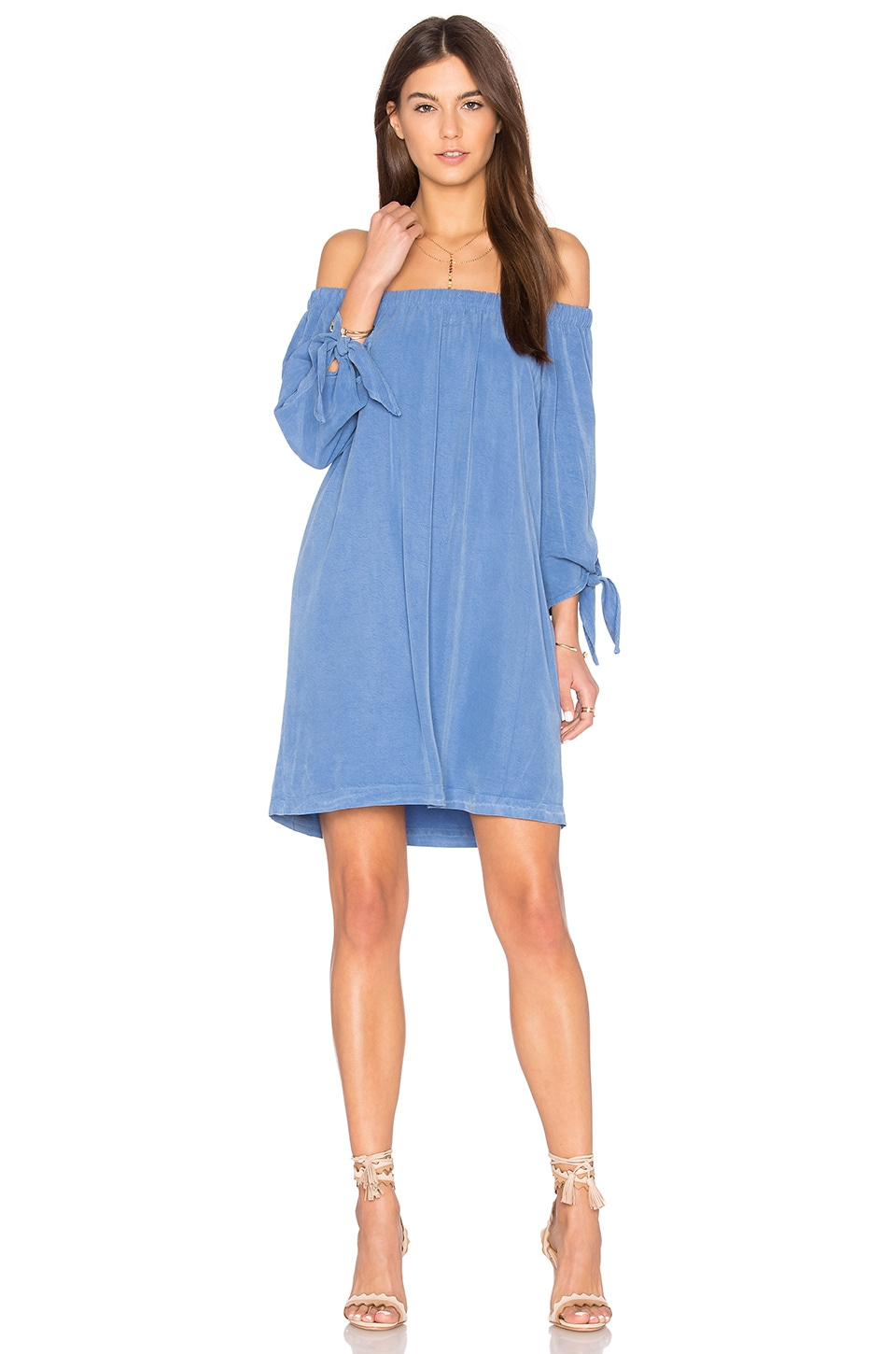 maven west Off Shoulder Knot Dress in Blue