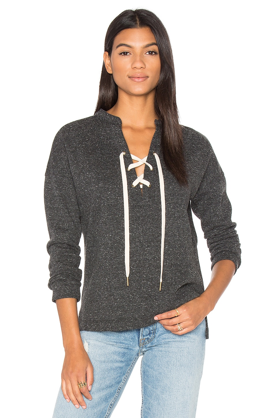 maven west Lace Up Sweatshirt in Charcoal