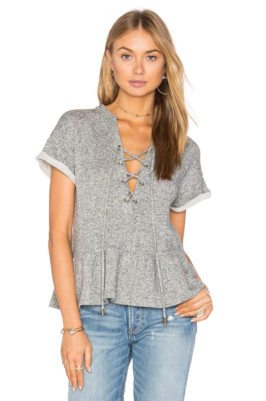 maven west Lace Up Peplum Sweatshirt in Heather Grey