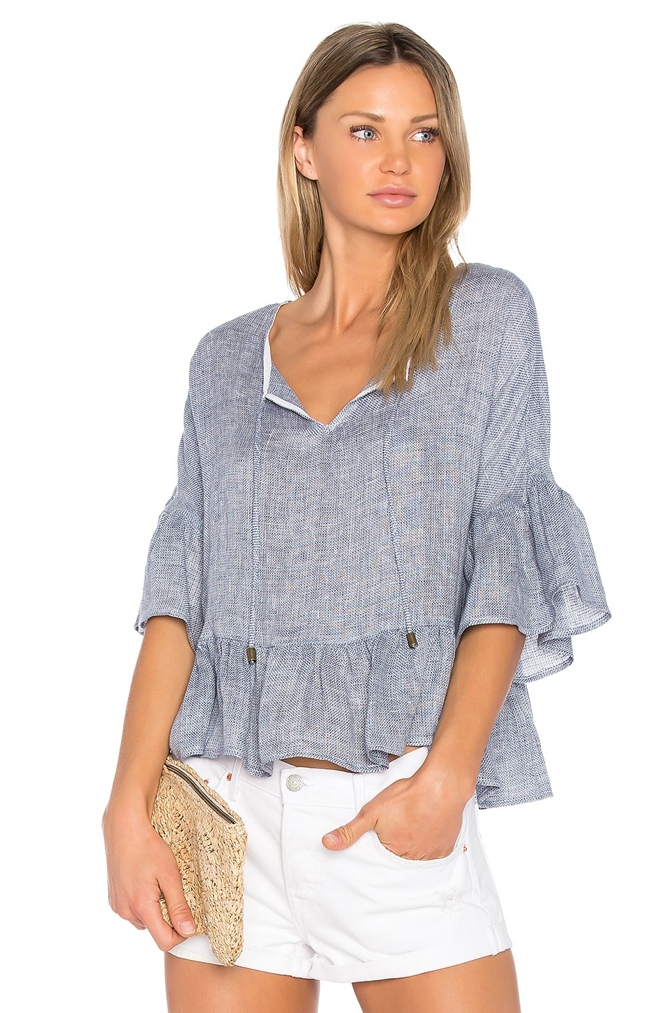 maven west Dani Peasant Blouse in Denim