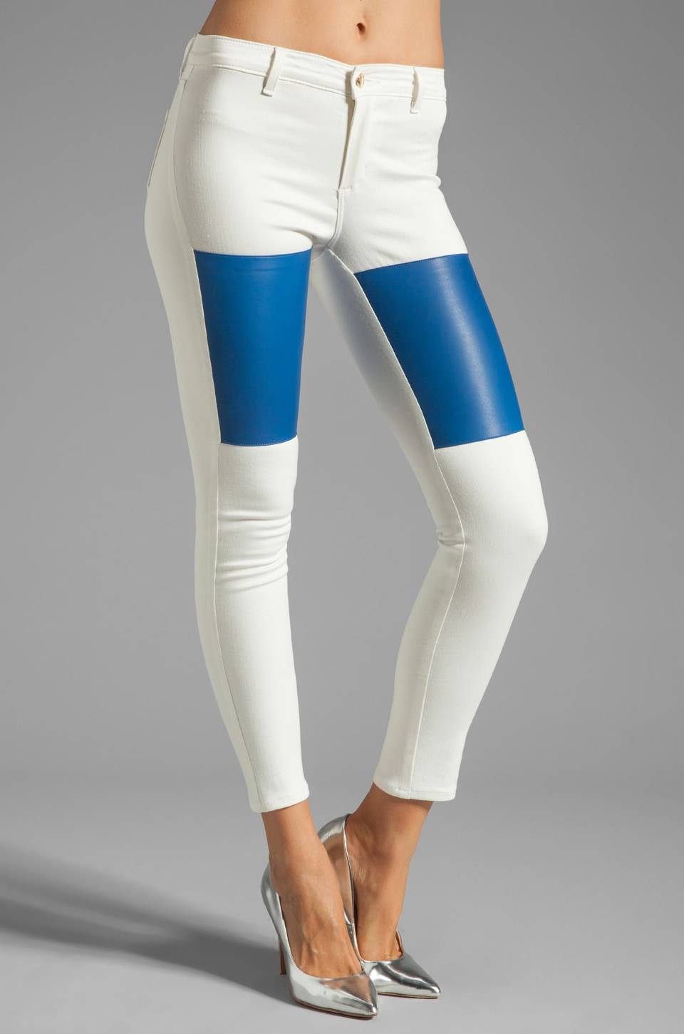 MAX FOWLES Leather Patch Jean in Blue/White