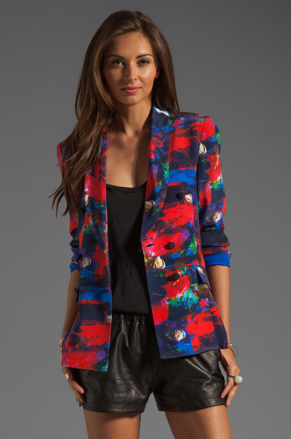 MAX FOWLES Double Breasted Blazer in Multi Print