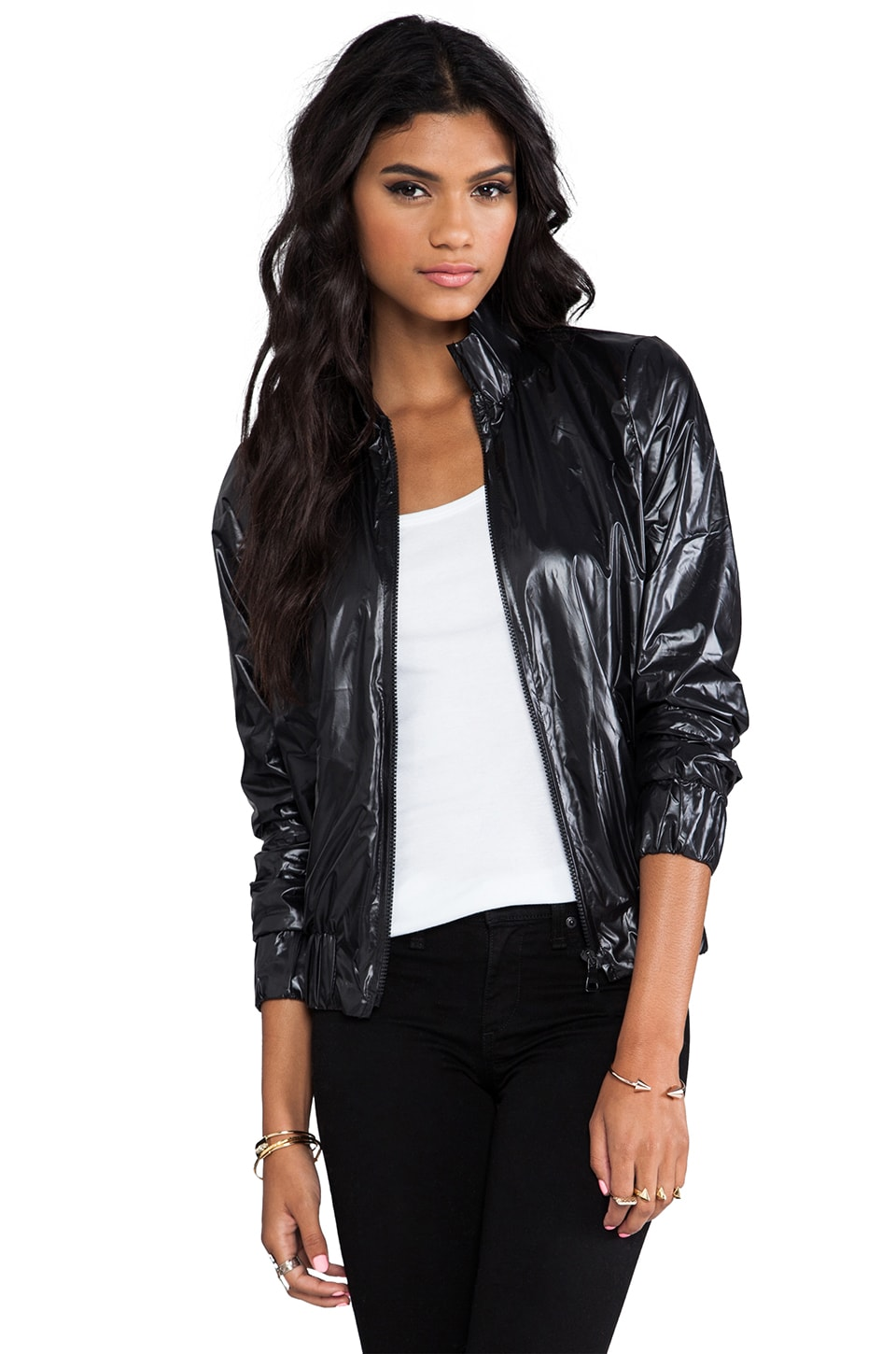 MAX FOWLES Athletic Jacket in Black Shiny