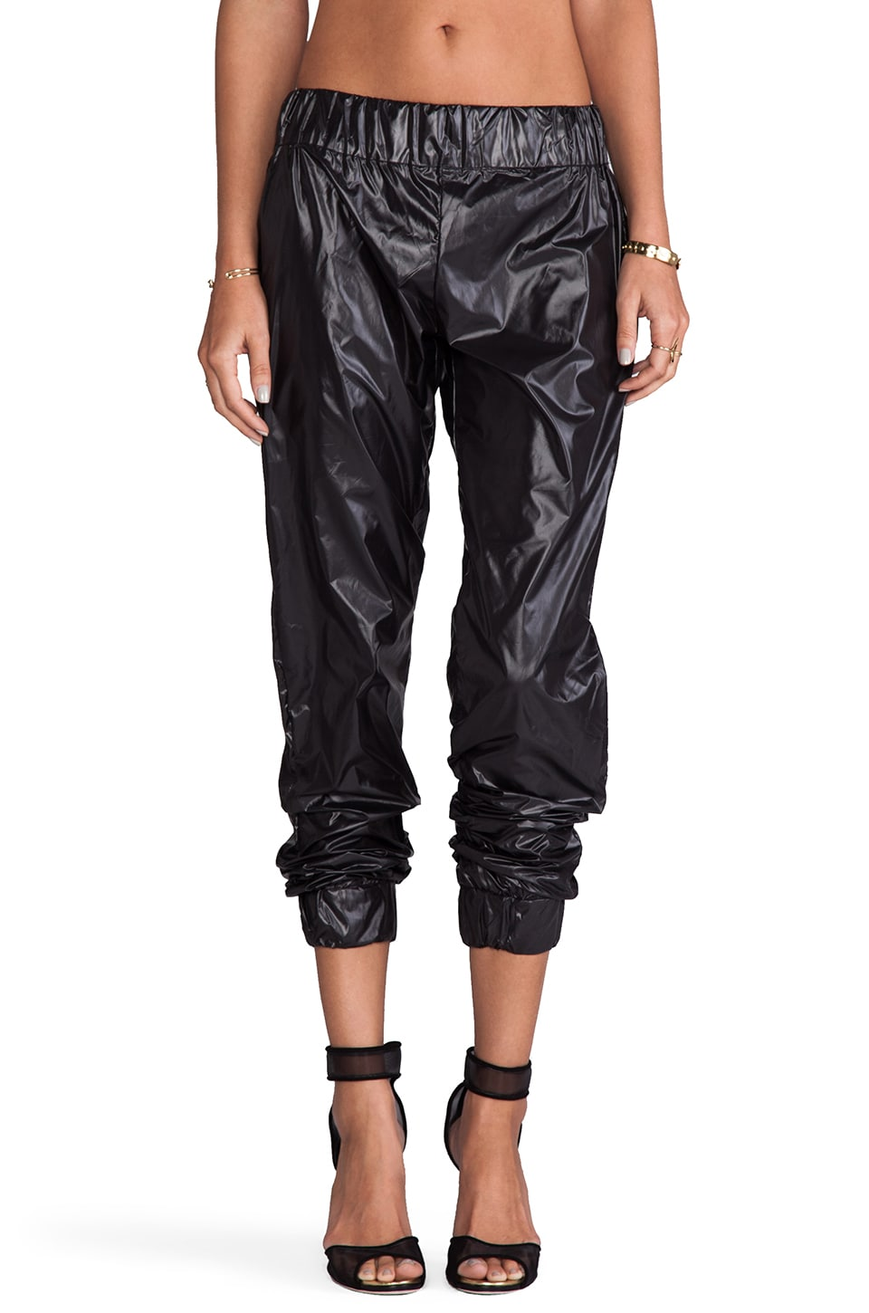 MAX FOWLES Sport Pants in Black Shiny