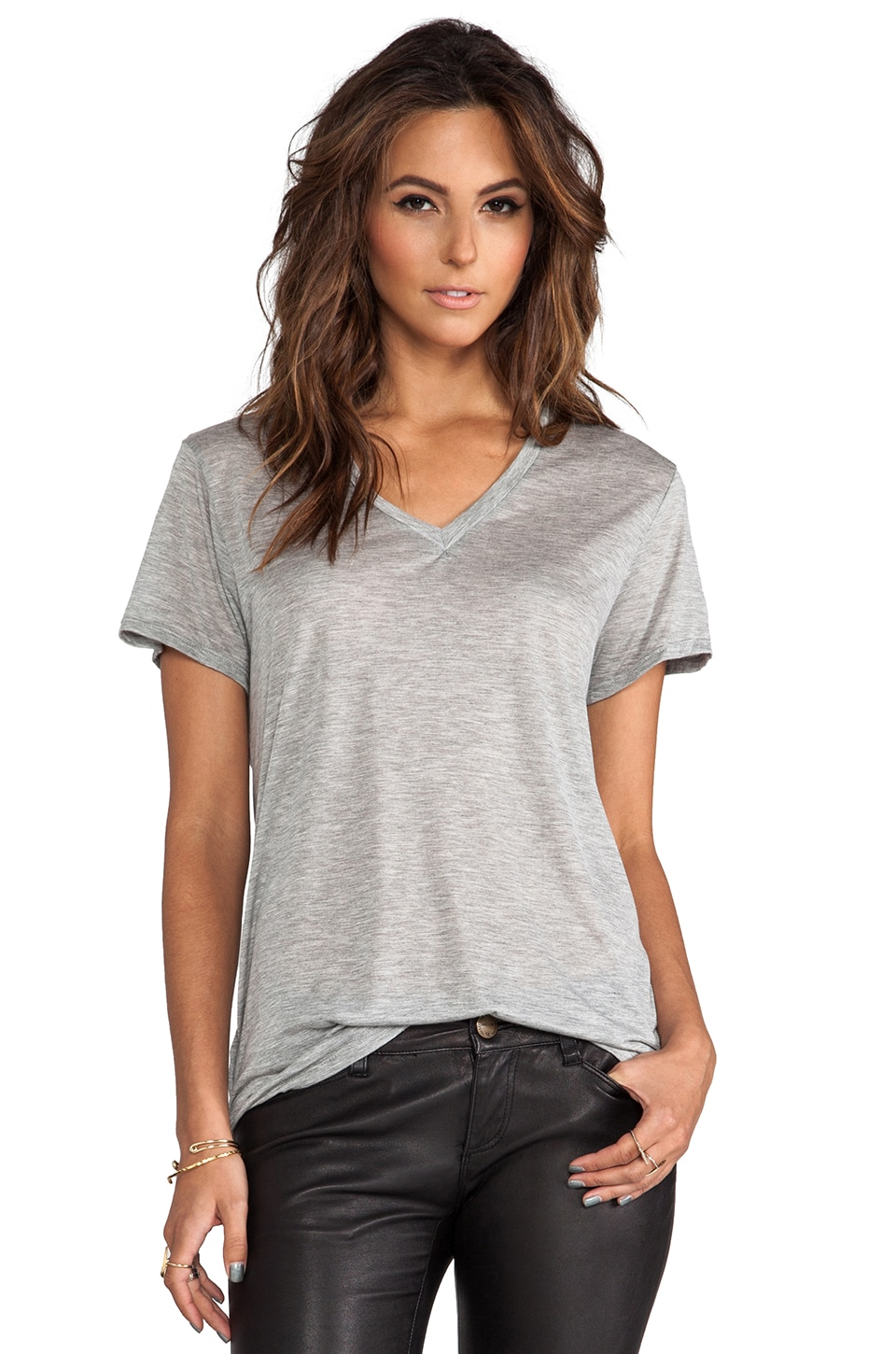 MAX FOWLES V-Neck Tee in Grey