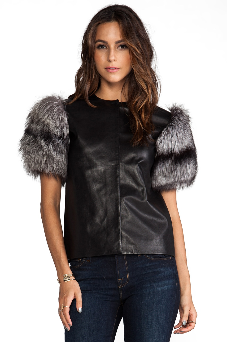 MAX FOWLES Silver Fox Fur Sleeve Top in Black