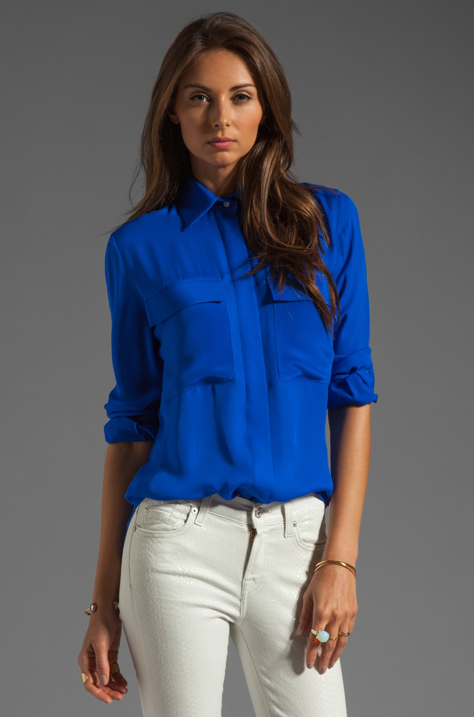 MAX FOWLES 2 Pocket Blouse in Blue