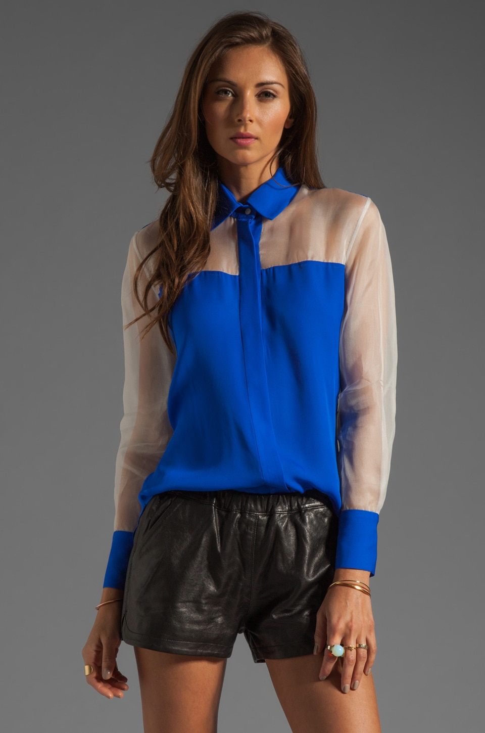 MAX FOWLES Silk Blouse in Blue/White