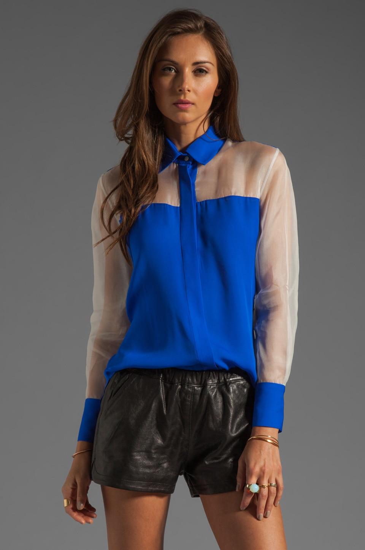 MAX FOWLES Silk Blouse in Blue/White
