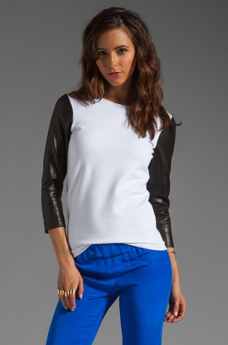 MAX FOWLES Leather Sleeve Tee in White/Black