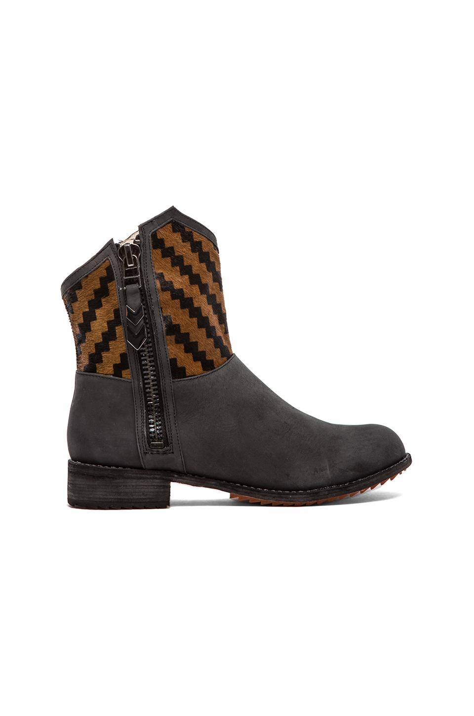 Matt Bernson Gotham Boot with Calf Hair in Nero/Aztec Pony