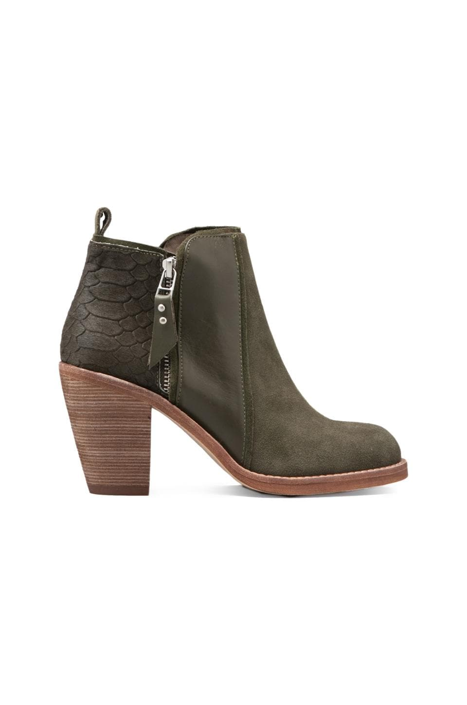 Matt Bernson Holt Bootie with Pony Hair in Moss/Moss Snake Pony