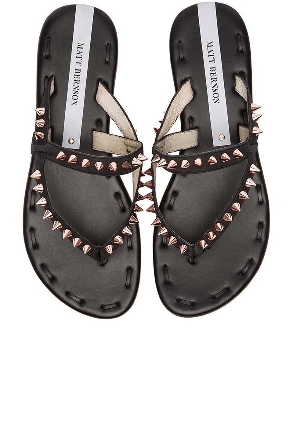 Matt Bernson Love Spike Sandal in Black Cavash & Rosegold