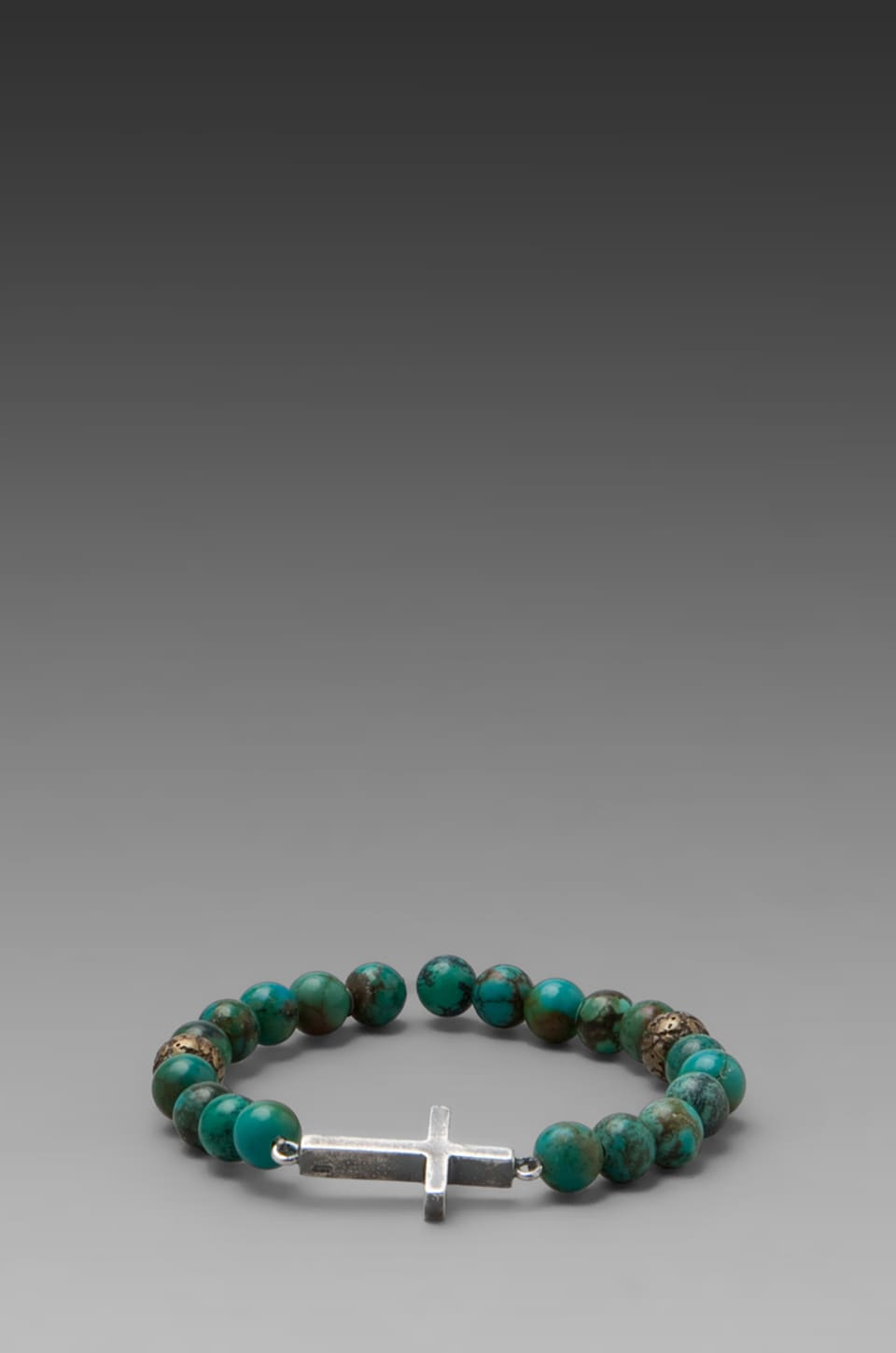 M.Cohen Beaded Sterling Sliver Cross Bracelet en Turquoise