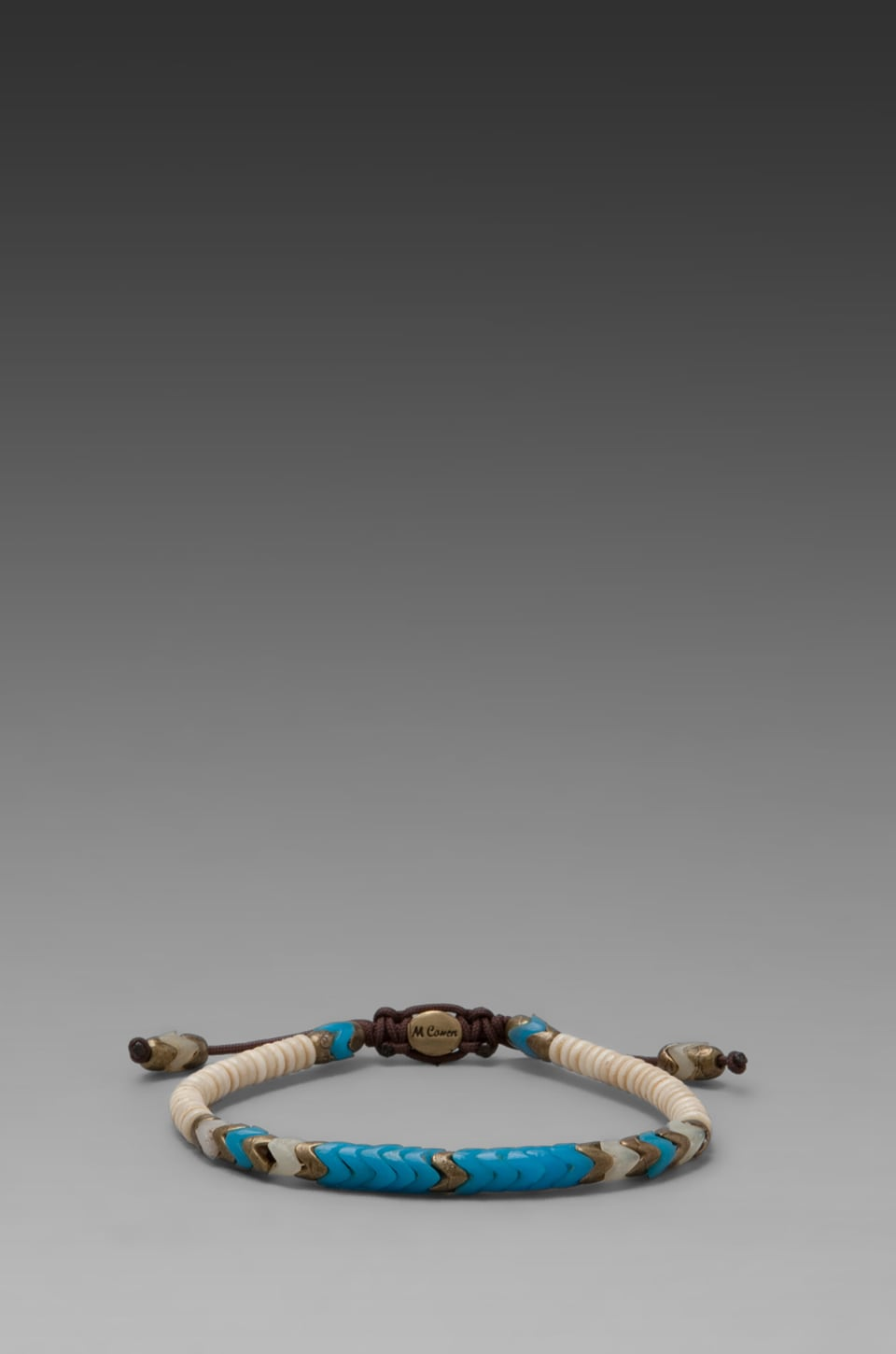 M.Cohen Tribal Style African Glass and Bone Bracelet in Turquoise