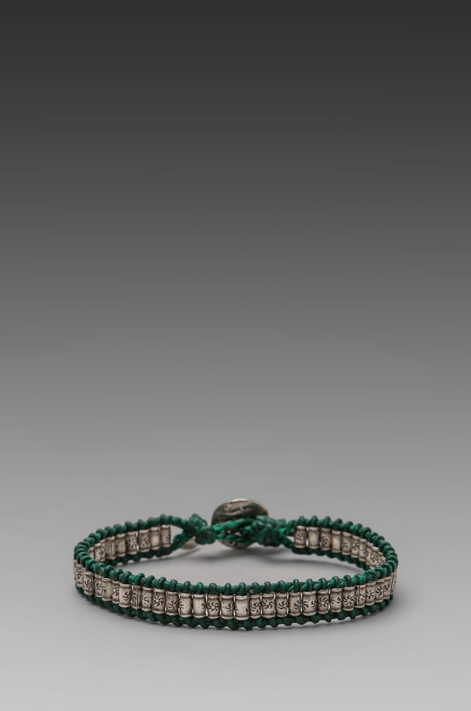 M.Cohen Sterling Sliver Stamped Bead Bracelet in Green