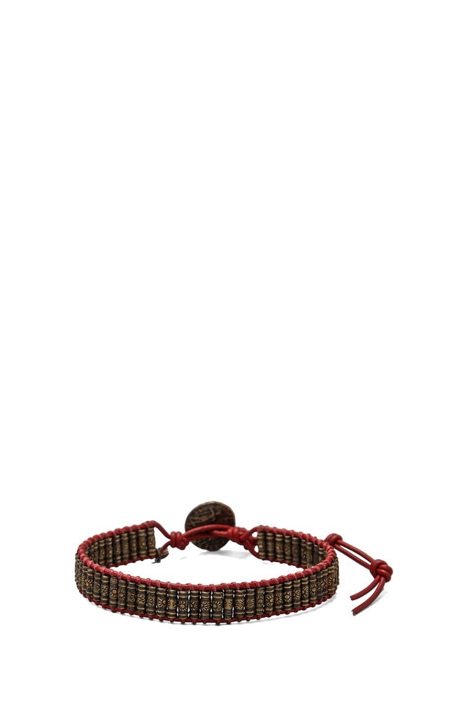 M.Cohen Oxidized Brass Stamped Beaded Bracelet in Red