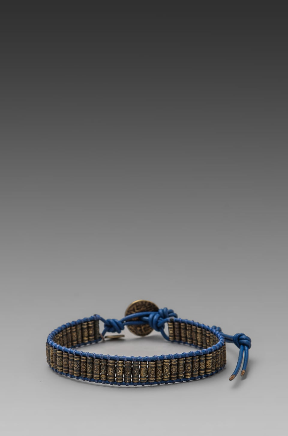 M.Cohen Oxidized Brass Stamped Beaded Bracelet in Blue