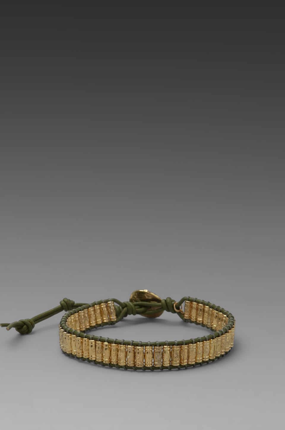 M.Cohen Gold Stamped Bead Bracelet in Olive