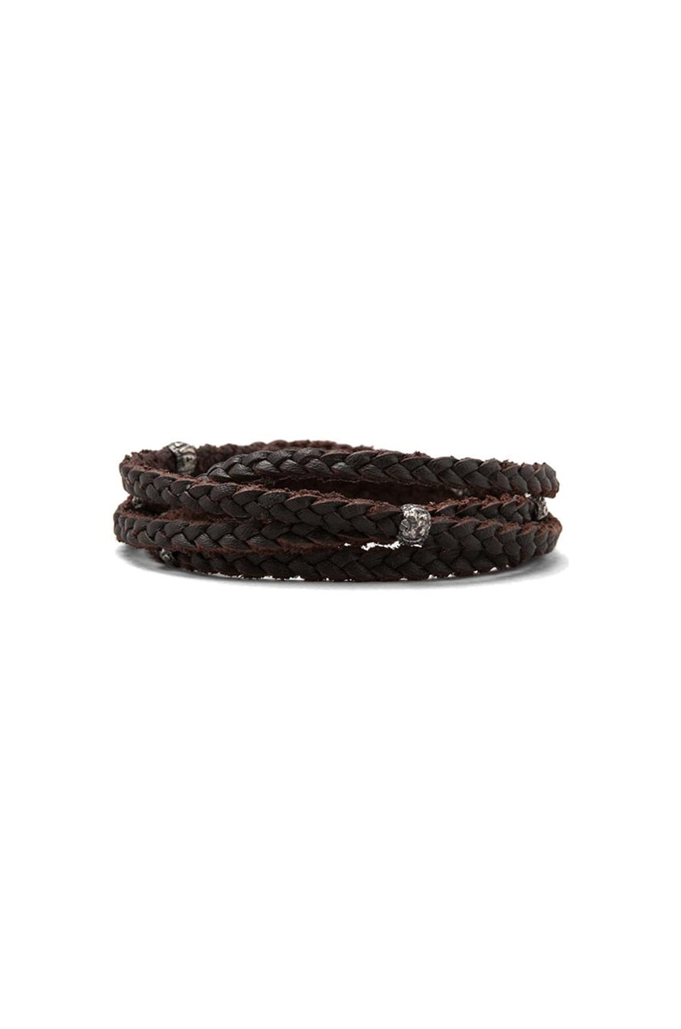 M.Cohen Braided Leather Wrap Bracelet in Brown