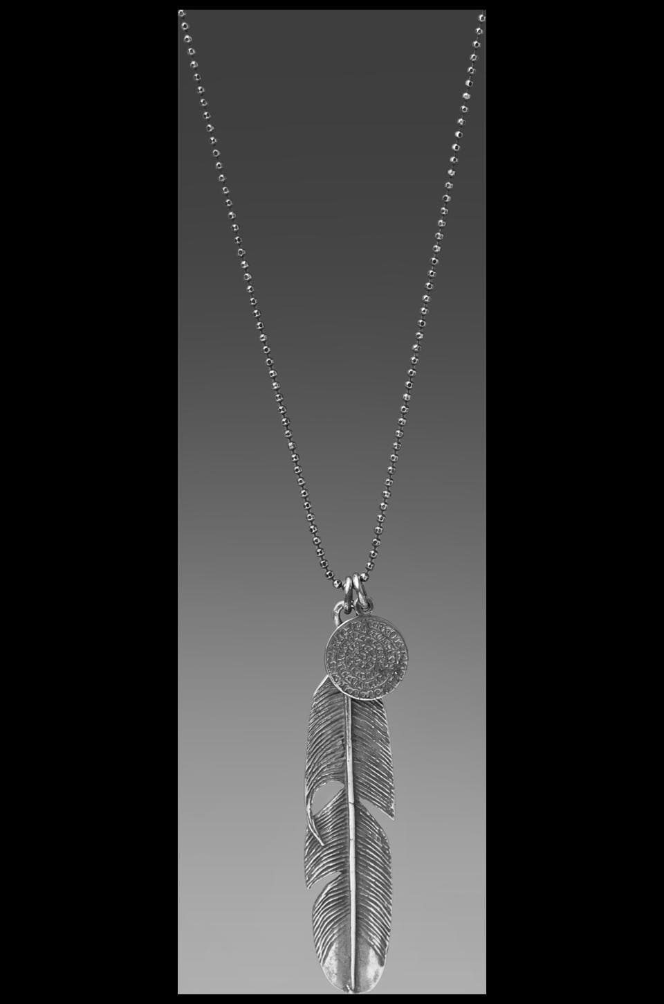 M.Cohen Feather Chain Necklace in Silver
