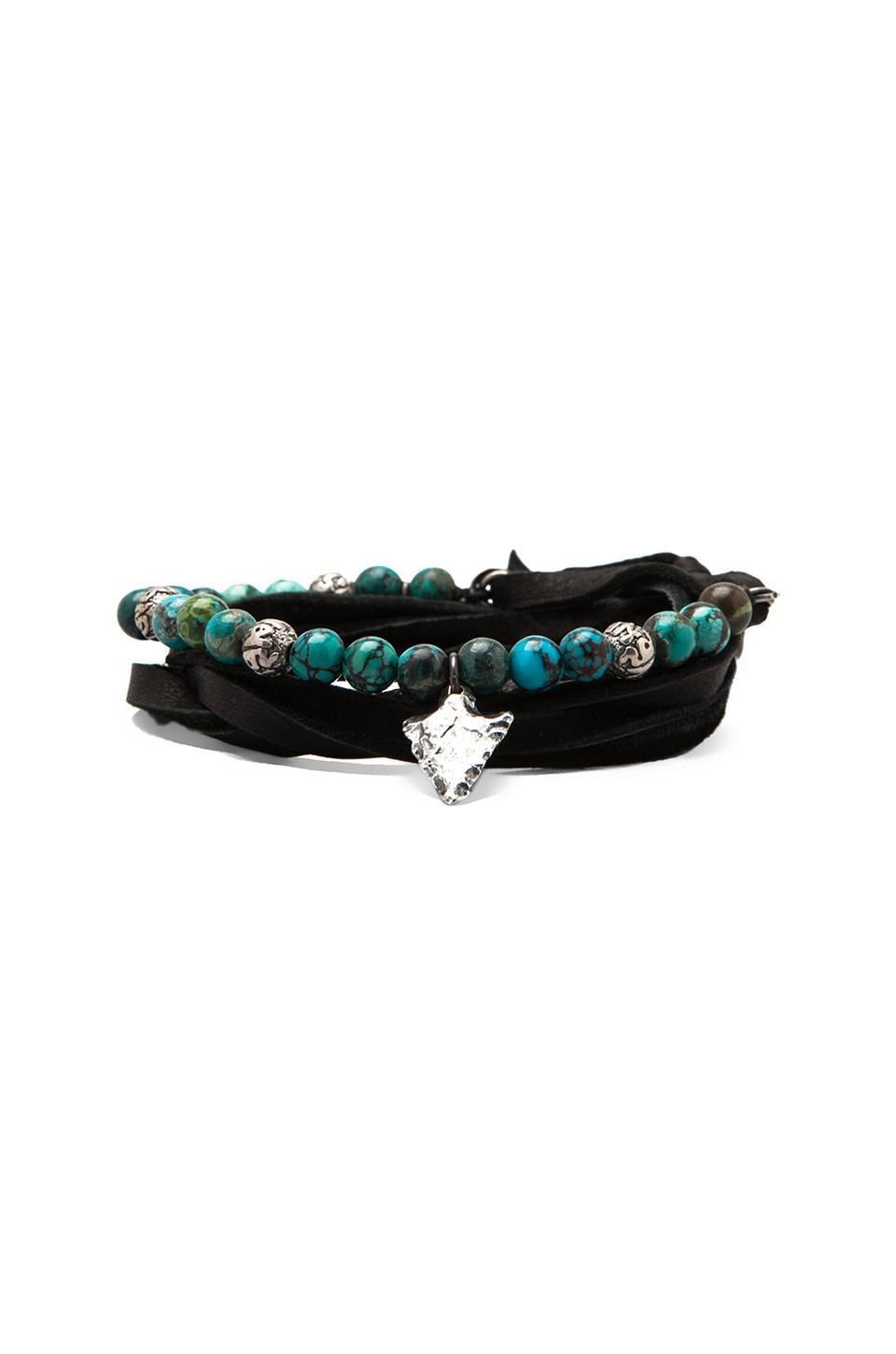 M.Cohen Three Wrap Leather and Stones Bracelet in Turquoise Arrow