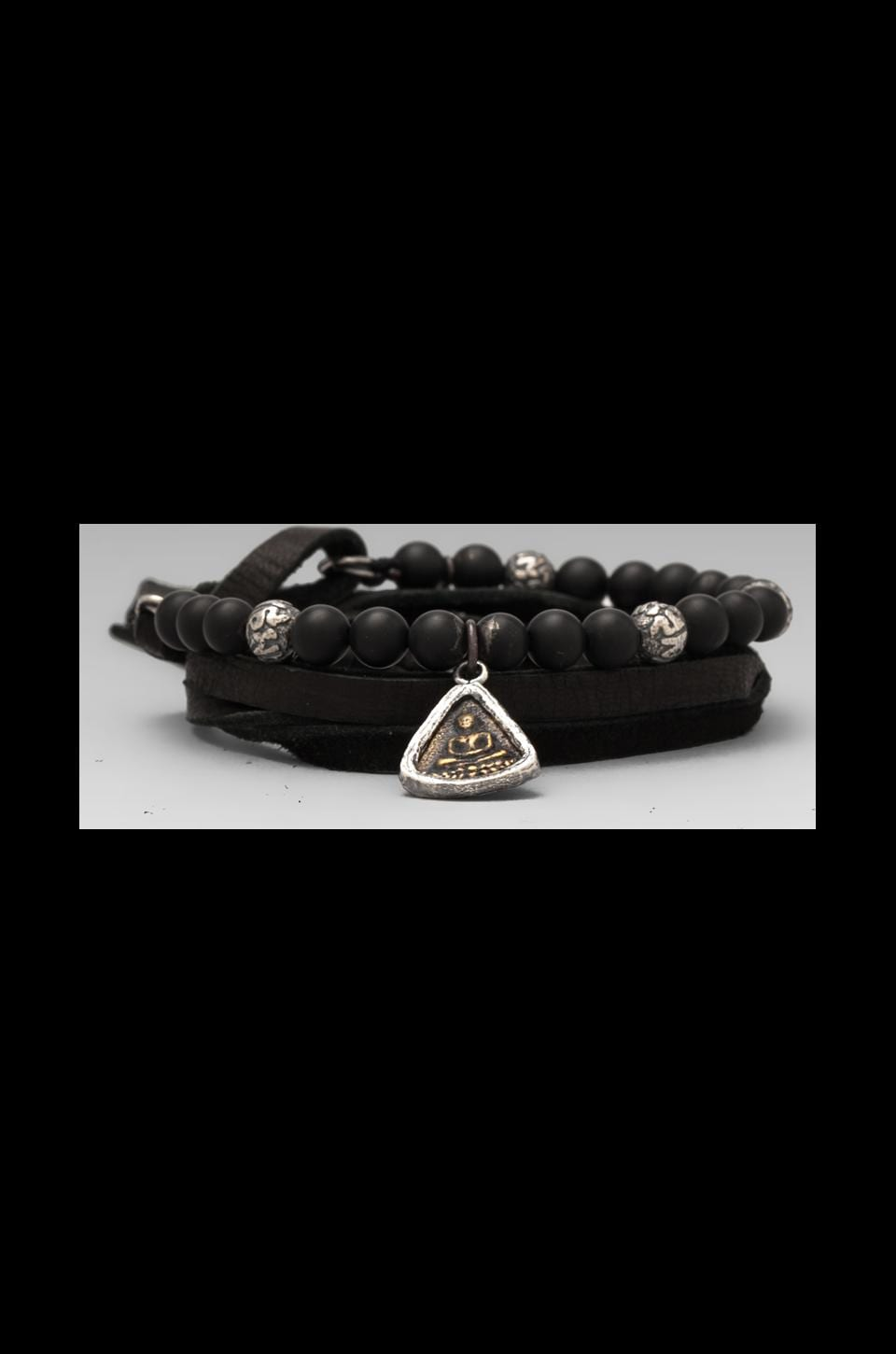 M.Cohen Three Wrap Leather and Stones Bracelet in Onyx Buddha