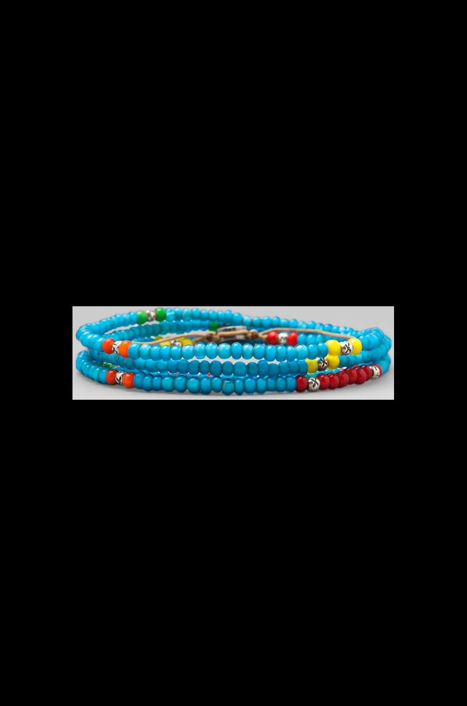 M.Cohen 4-Wrap Mini African Glass Beads Bracelet in Turquoise