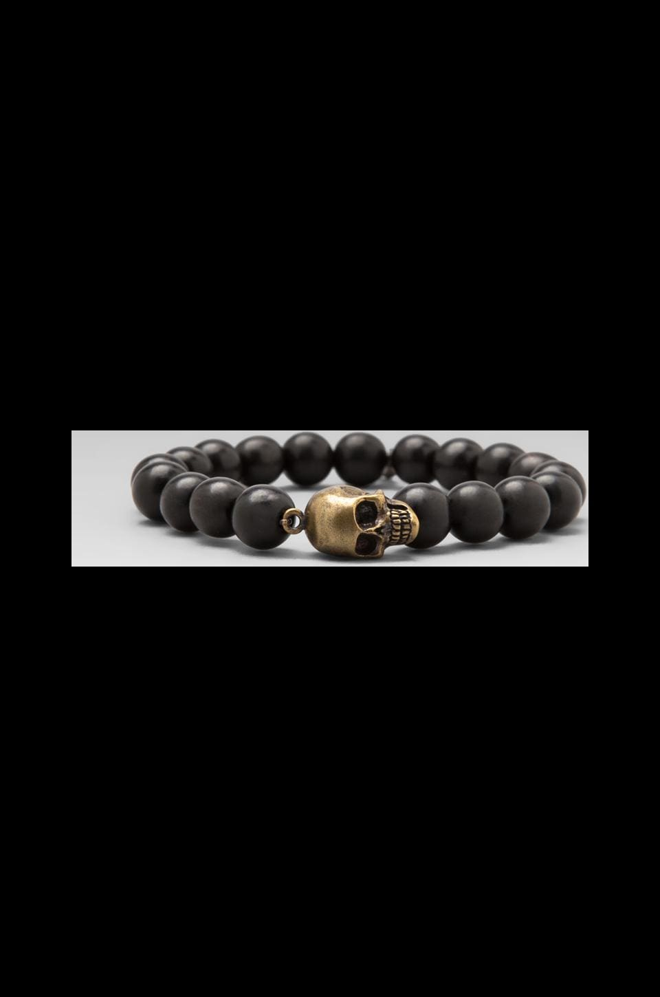 M.Cohen Horn Beaded Brass Skull Bracelet in Black