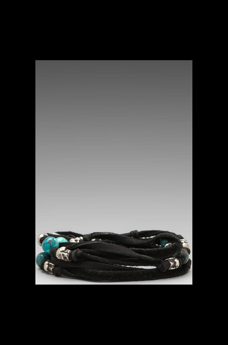 M.Cohen 5-Layer Leather Skull Wrap Bracelet in Black Leather