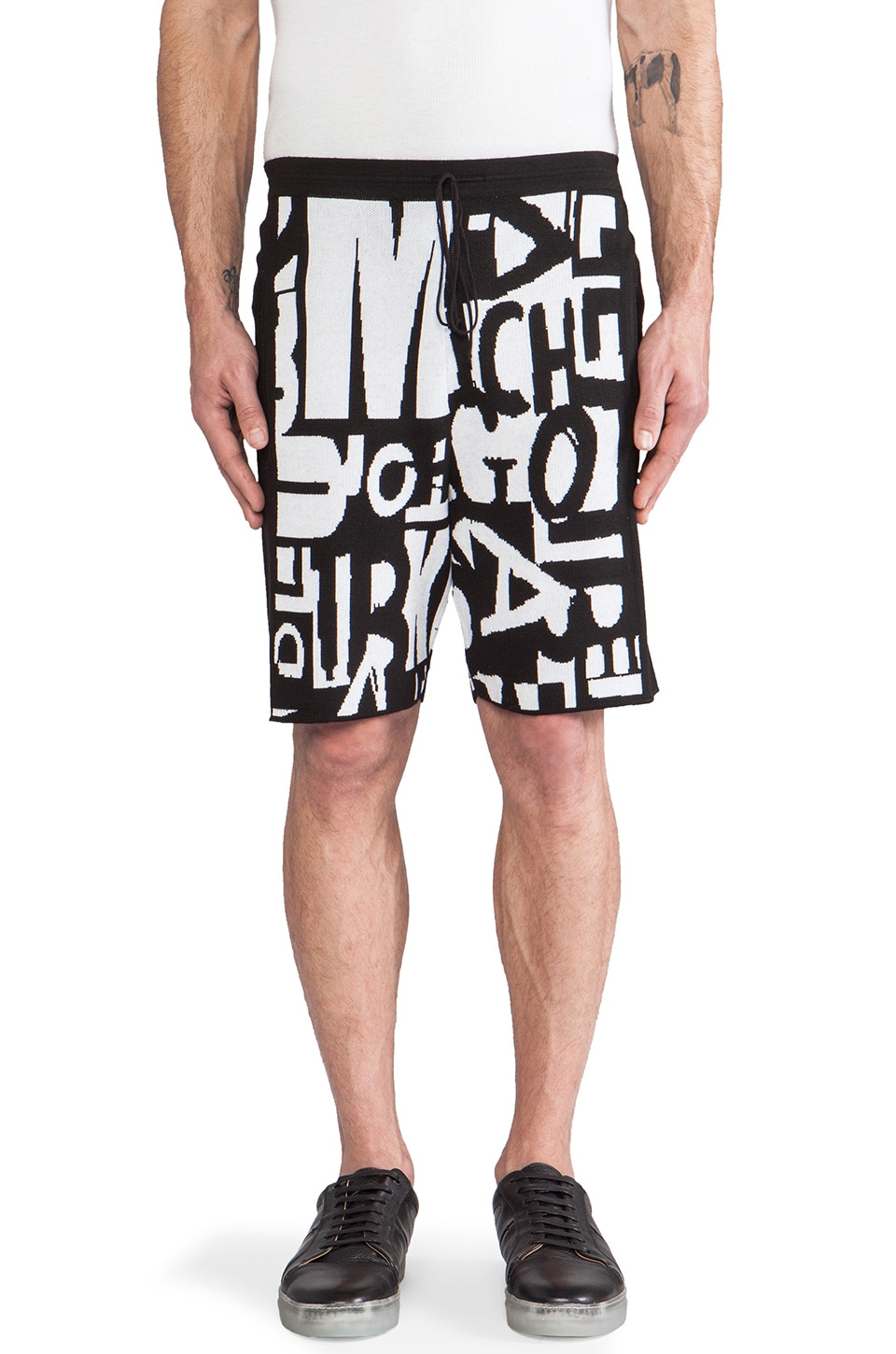 McQ Alexander McQueen Letter Jacquard Shorts in Optic White Text