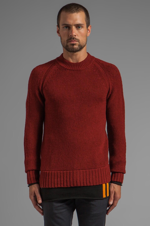 McQ Alexander McQueen Shetland Polo Knit in Oxblood/Black