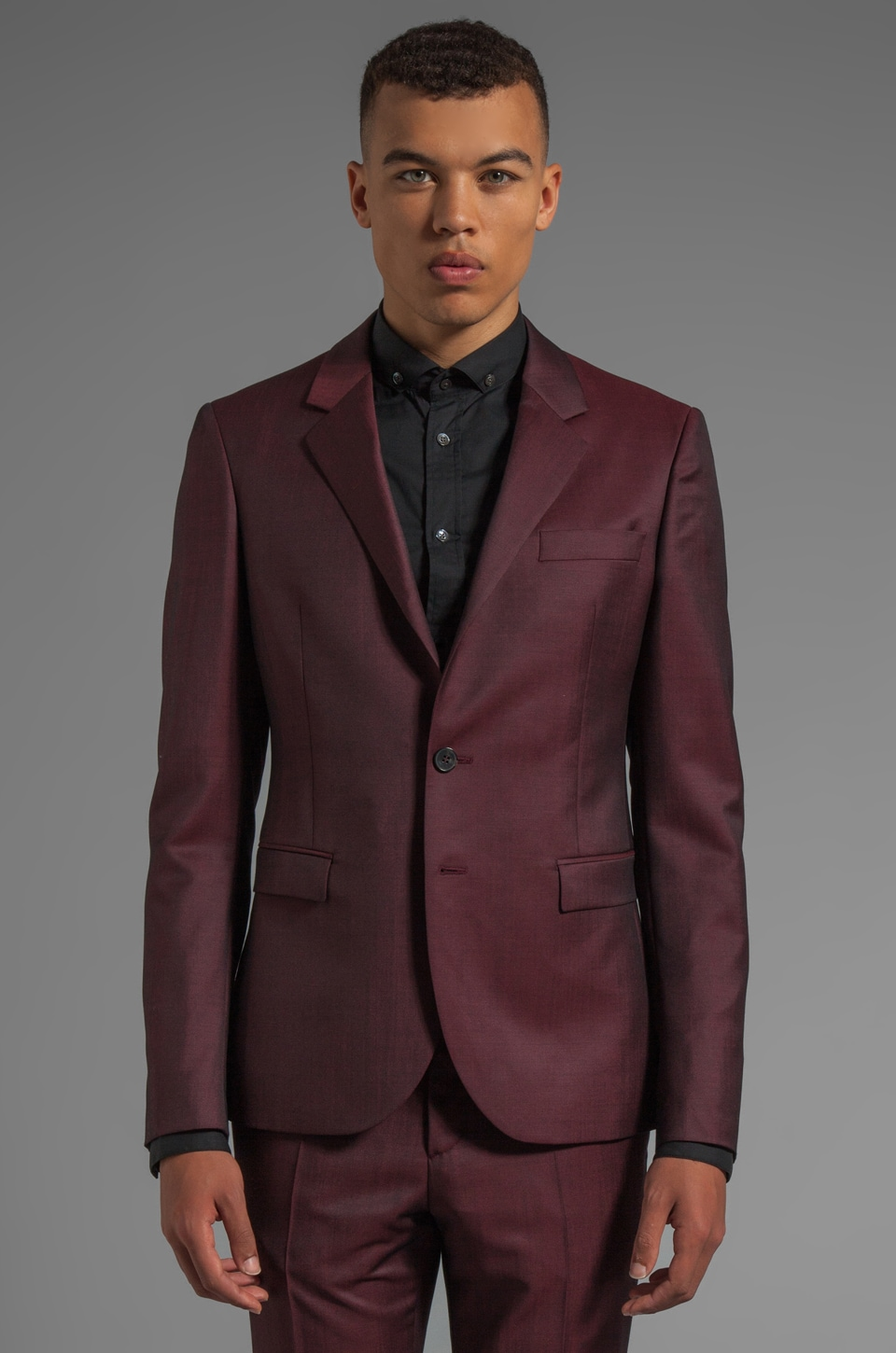 McQ Alexander McQueen Classic Fitted Blazer in Ox Blood