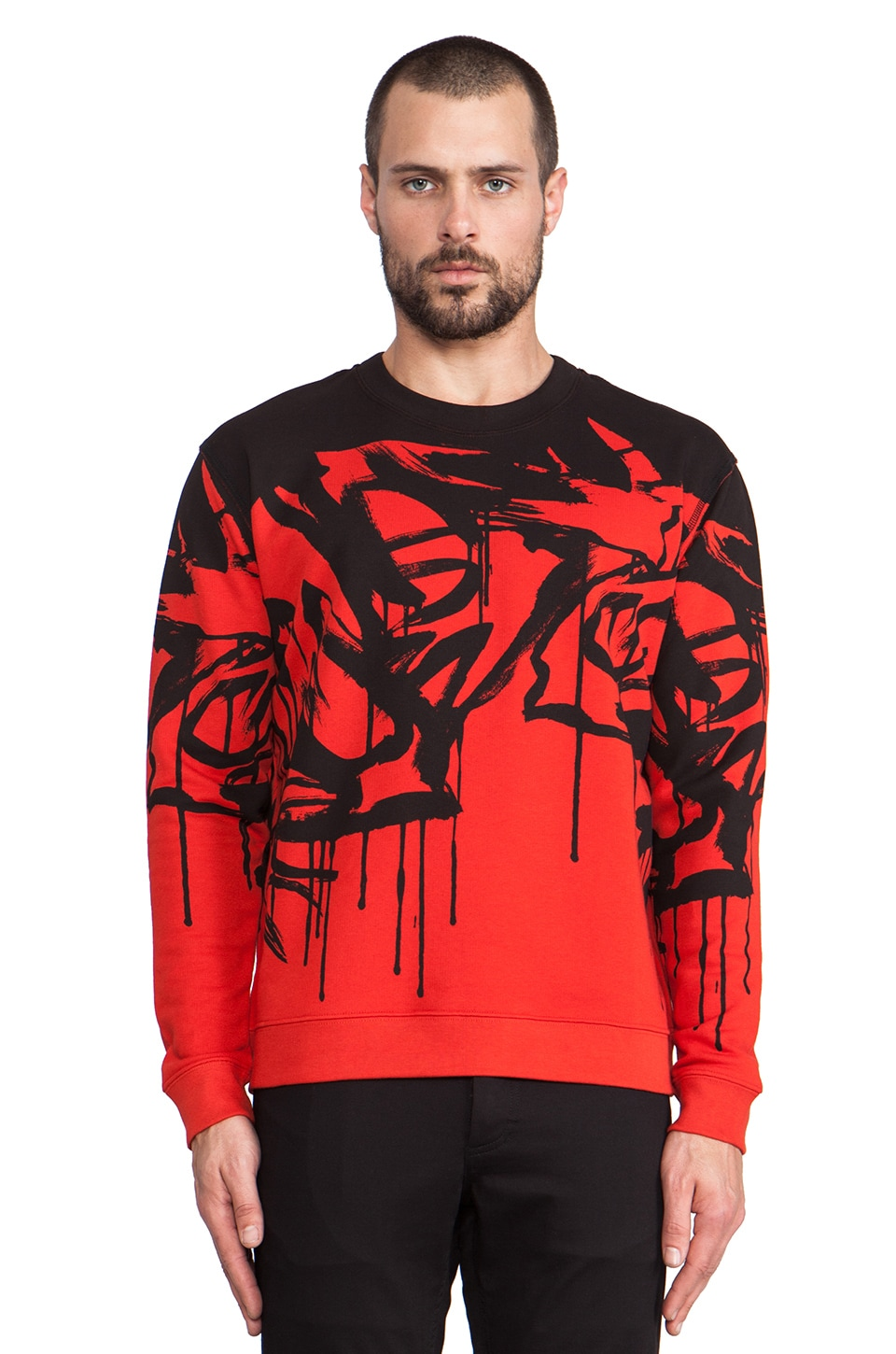 McQ Alexander McQueen Dripping Graphic Pullover in Tongue Red