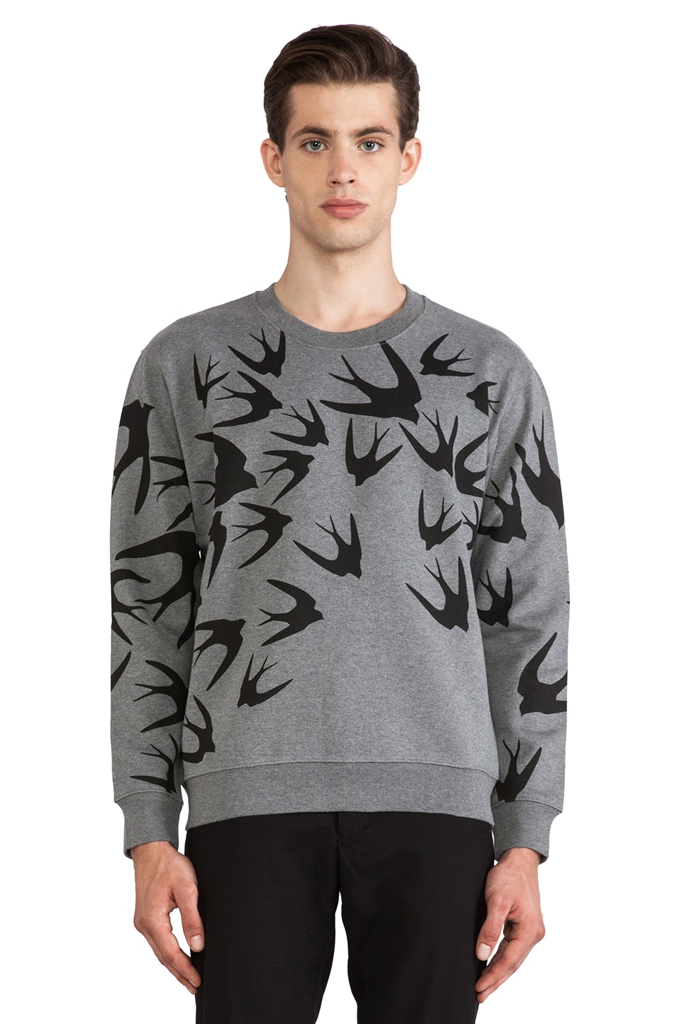 McQ Alexander McQueen McQ Crew Neck in Grey Black Flock Swallow