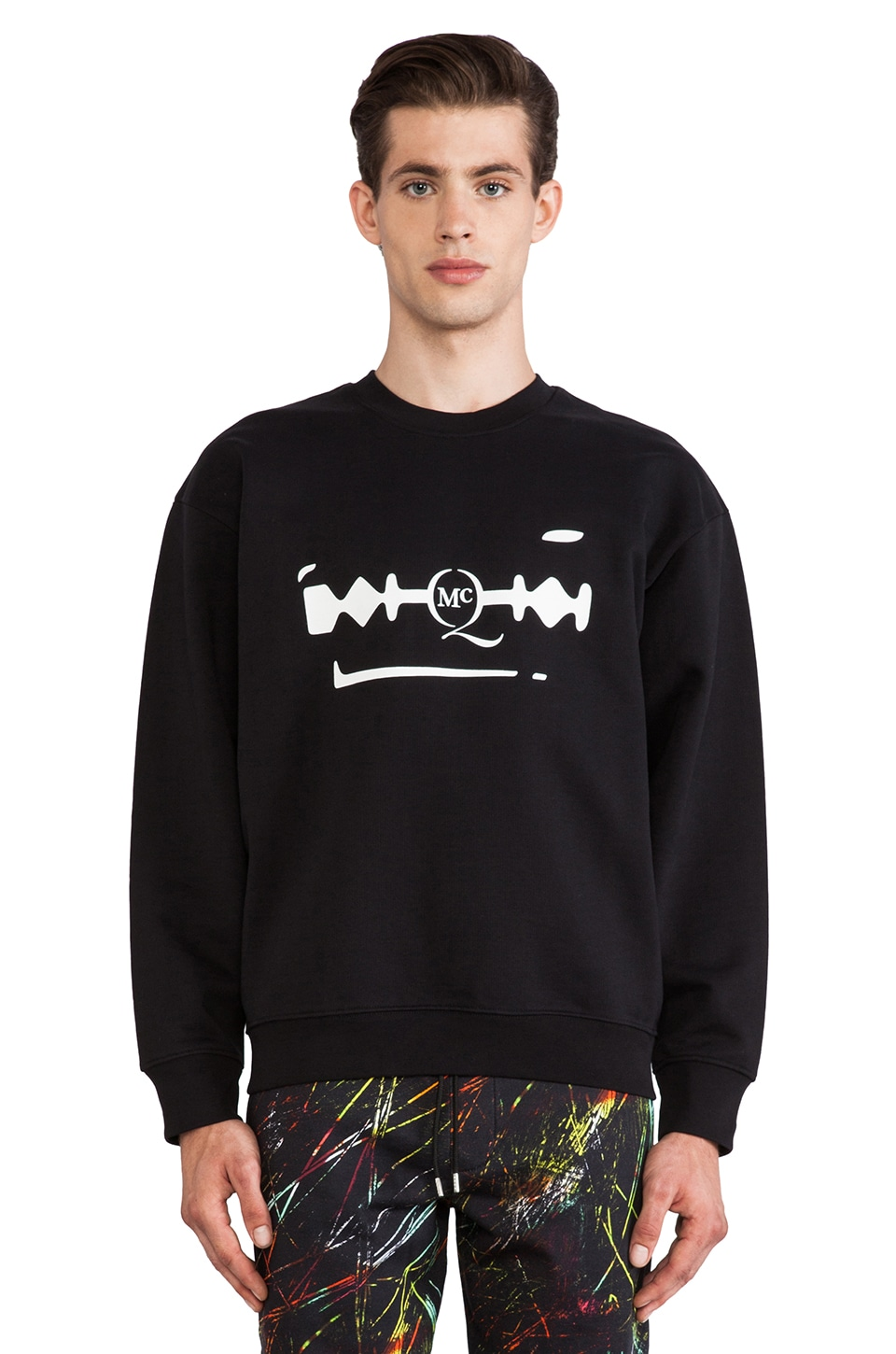 McQ Alexander McQueen Oversized Sweatshirt in Darkest Black