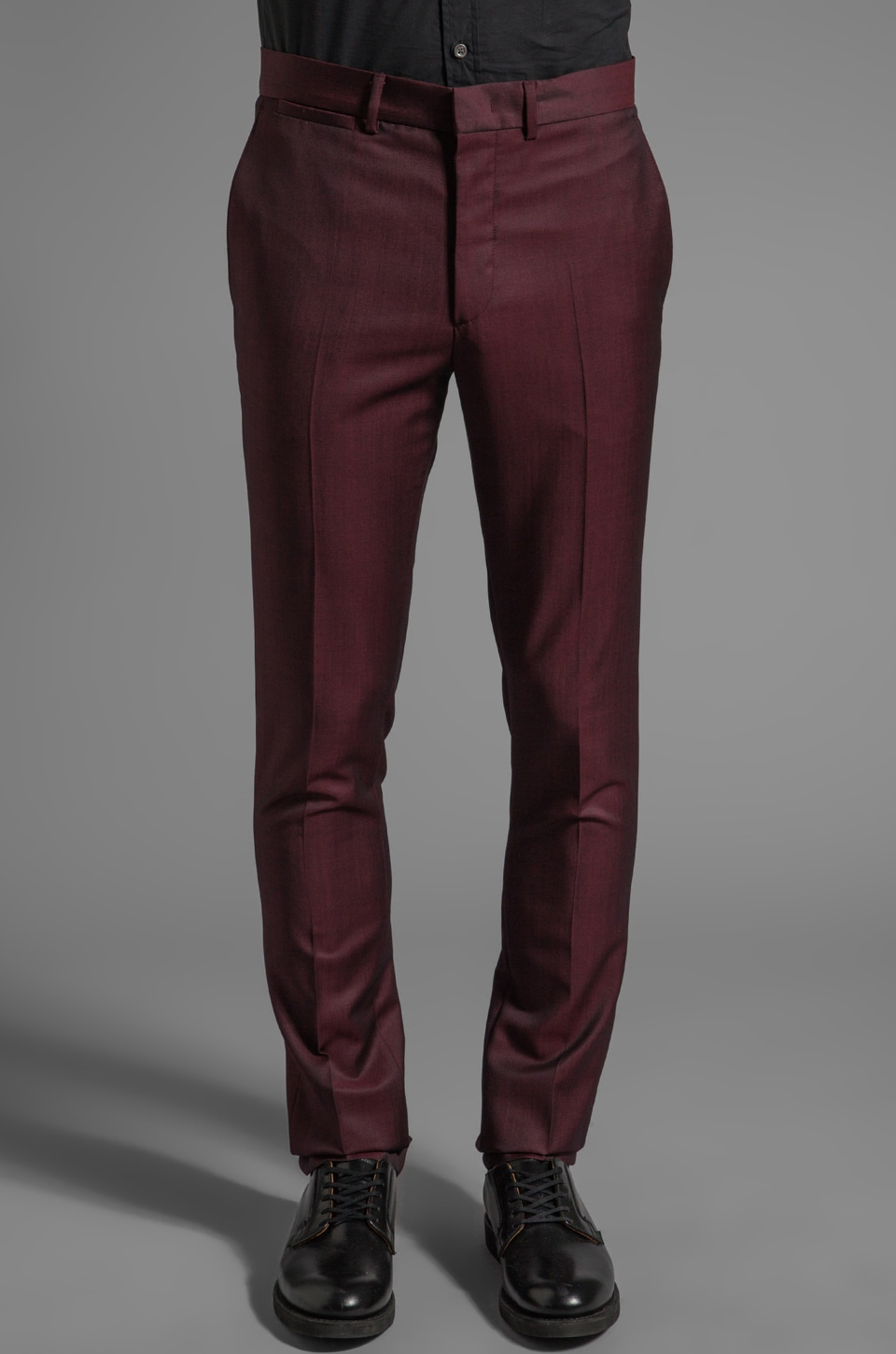 McQ Alexander McQueen Classic Slim Tailored Trouser in Ox Blood