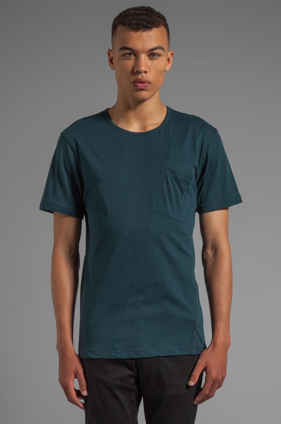 McQ Alexander McQueen Twisted Pocket Tee in Petrol