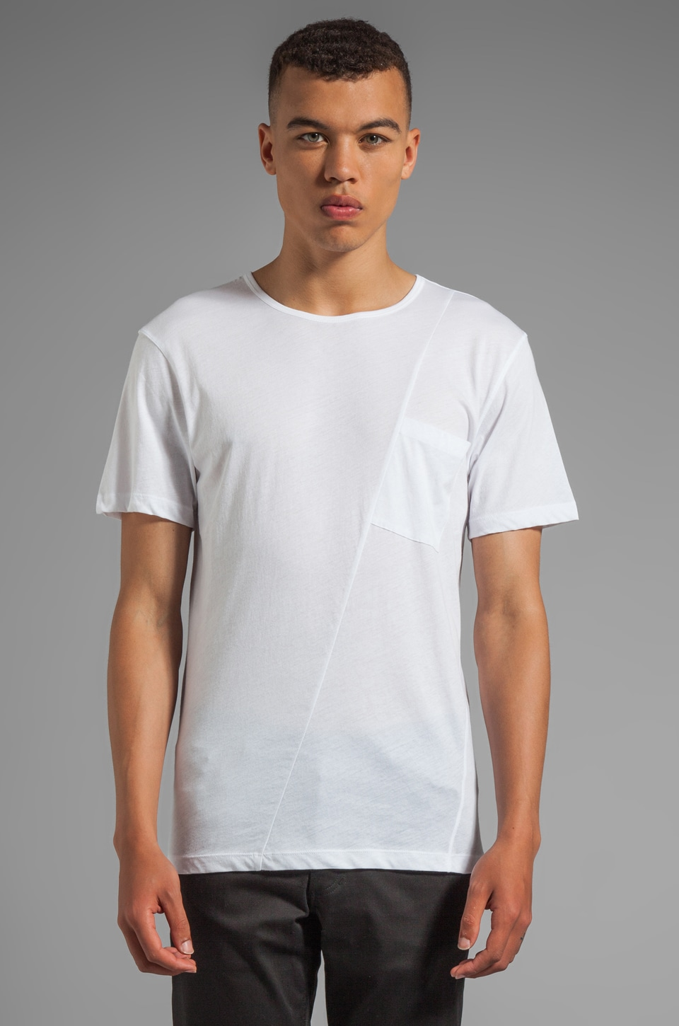 McQ Alexander McQueen Twisted Pocket Tee in Optic White