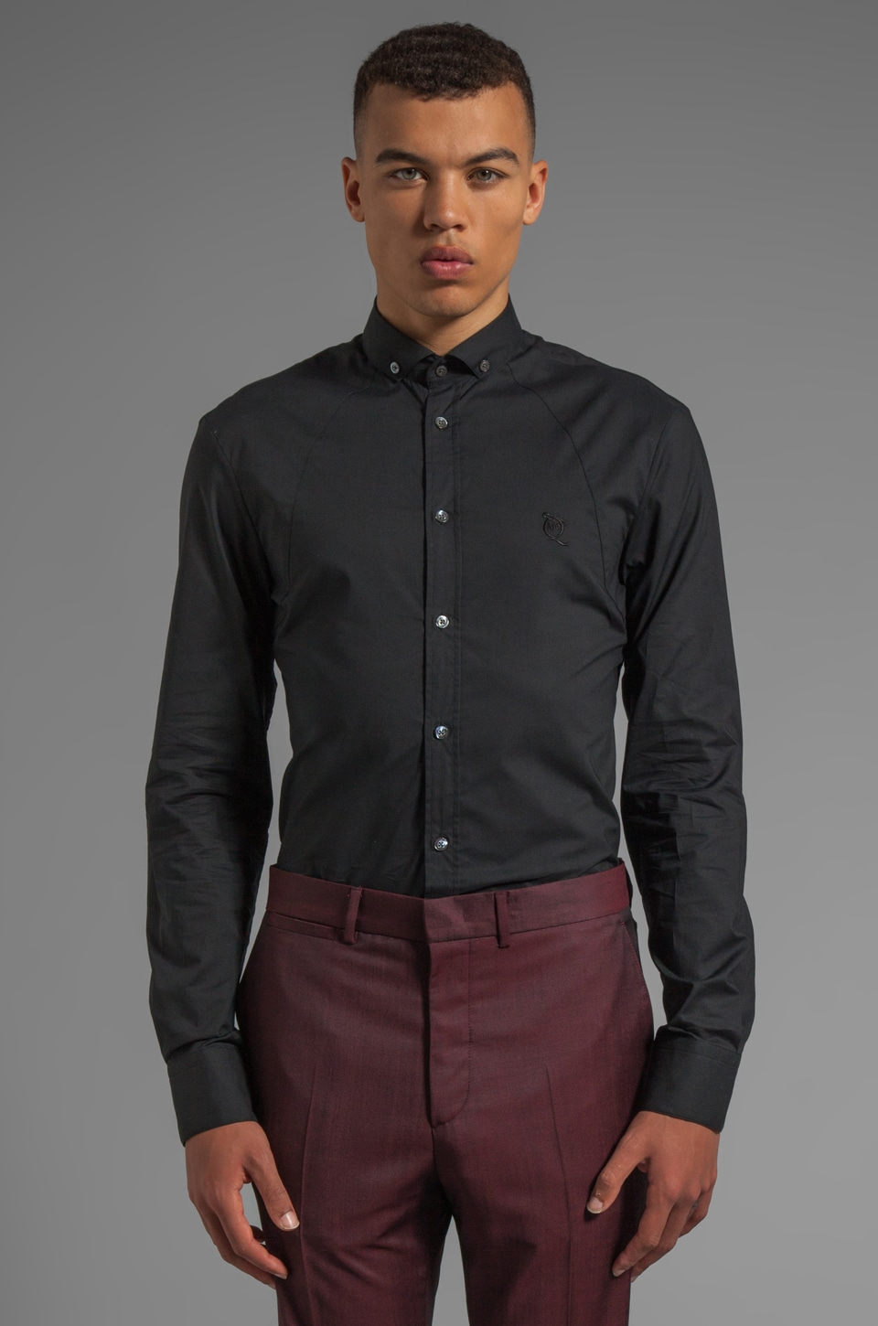 McQ Alexander McQueen Shirting Harness Button Up in Velvet Black